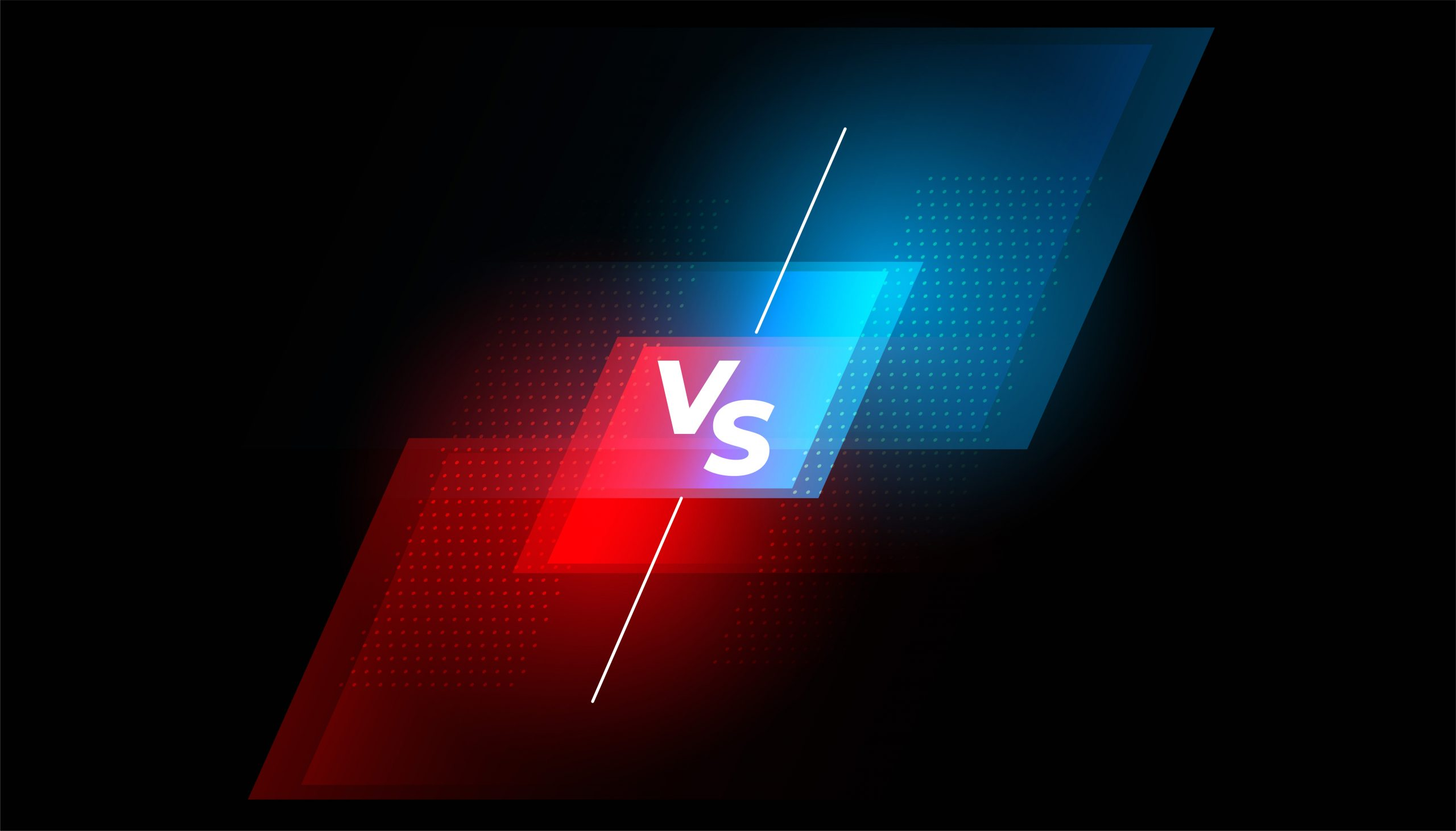 versus vs battle screen red and blue background